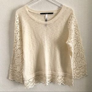 Kensie Light Sweater Blouse Lace Sleeves Cream XL